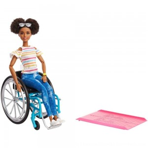 Black Friday 2020 | Barbie Fashionistas Doll #133 Brunette with Rolling Wheelchair and Ramp