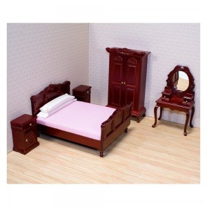 Black Friday 2020 | Melissa & Doug Classic Victorian Wooden and Upholstered Dollhouse Bedroom Furniture 6 pc