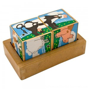 Black Friday 2020 | Melissa & Doug Farm Sound Blocks 6-in-1 Puzzle With Wooden Tray