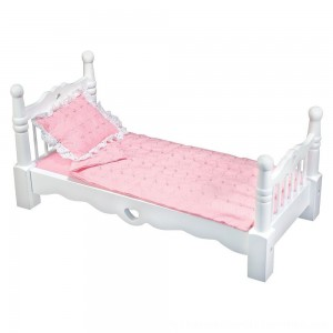 Black Friday 2020 | Melissa & Doug White Wooden Doll Bed With Bedding (24 x 12 x 11 inches)