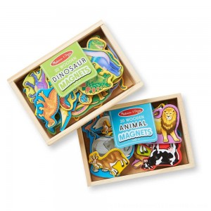 Black Friday 2020 | Melissa & Doug Wooden Magnets Set - Animals and Dinosaurs With 40 Wooden Magnets