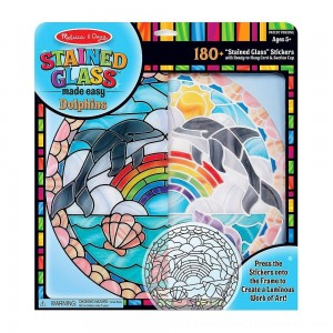 Black Friday 2020 | Melissa & Doug Stained Glass Made Easy Craft Kit: Dolphins - 180+ Stickers