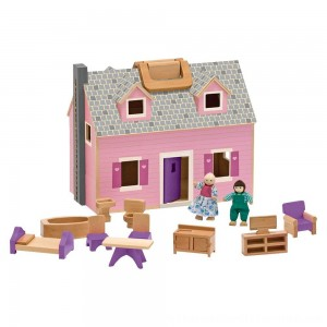 Black Friday 2020 | Melissa & Doug Fold and Go Wooden Dollhouse With 2 Dolls and Wooden Furniture