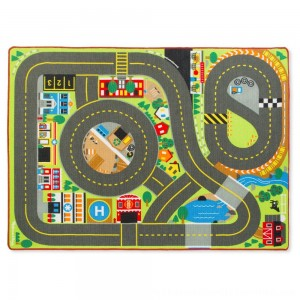 Black Friday 2020 | Melissa & Doug Jumbo Roadway Activity Rug With 4 Wooden Traffic Signs (79 x 58 inches)