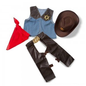 Black Friday 2020 | Melissa & Doug Cowboy Role Play Costume Set (5pc) - Includes Faux Leather Chaps, Adult Unisex, Blue/Gold/Red