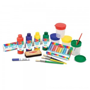 Black Friday 2020 | Melissa & Doug Easel Accessory Set - Paint, Cups, Brushes, Chalk, Paper, Dry-Erase Marker