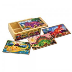 Black Friday 2020 | Melissa & Doug Dinosaurs 4-in-1 Wooden Jigsaw Puzzles in a Storage Box (48pc)