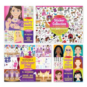 Black Friday 2020 | Melissa & Doug Sticker Pads Set: Jewelry and Nails, Dress-Up, Make-a-Face, Favorite Themes - 1225+ Stickers