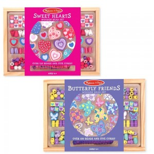 Black Friday 2020 | Melissa & Doug Sweet Hearts and Butterfly Friends Bead Set of 2 - 250+ Wooden Beads