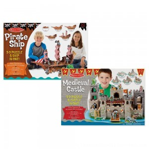 Black Friday 2020 | Melissa And Doug Pirate Ship And Medieval Castle 3D Puzzle 200pc