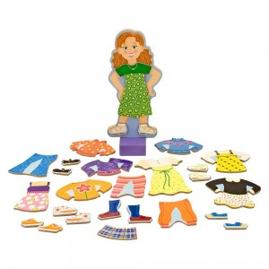 Black Friday 2020 | Melissa & Doug Maggie Leigh Magnetic Wooden Dress-Up Doll Pretend Play Set (25+pc)