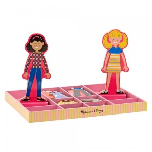Black Friday 2020 | Melissa & Doug Abby and Emma Deluxe Magnetic Wooden Dress-Up Dolls Play Set (55+pc)