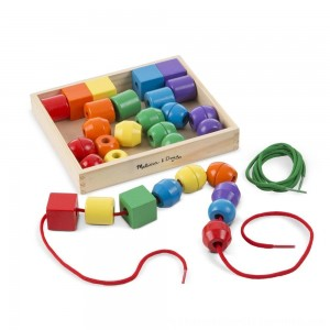 Black Friday 2020 | Melissa & Doug Primary Lacing Beads - Educational Toy With 30 Wooden Beads and 2 Laces