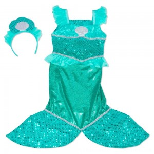 Black Friday 2020 | Melissa & Doug Mermaid Role Play Costume Set - Gown With Flaired Tail, Seashell Tiara, Women's