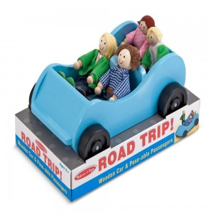 Black Friday 2020 | Melissa & Doug Road Trip Wooden Toy Car and 4 Poseable Dolls (4-5 inches each)