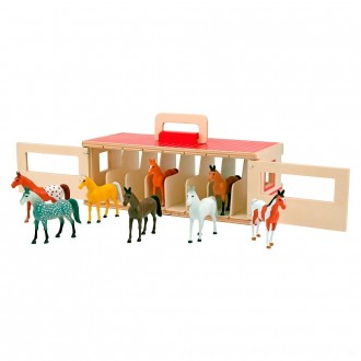 Black Friday 2020 | Melissa & Doug Take-Along Show-Horse Stable Play Set With Wooden Stable Box and 8 Toy Horses