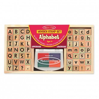 Black Friday 2020 | Melissa & Doug Wooden Alphabet Stamp Set - 56 Stamps With Lower-Case and Capital Letters