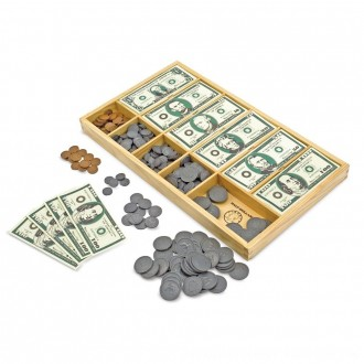 Black Friday 2020 | Melissa & Doug Play Money Set - Educational Toy With Paper Bills and Plastic Coins (50 of each denomination) and Wooden Cash Drawer for Storage