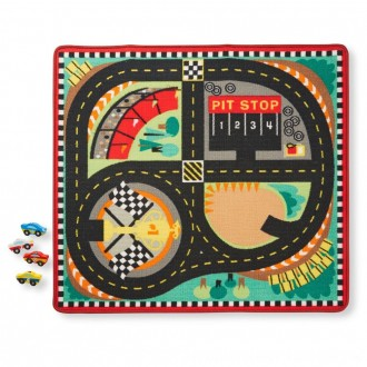Black Friday 2020 | Melissa & Doug Round the Speedway Race Track Rug With 4 Race Cars (39 x 36 inches)