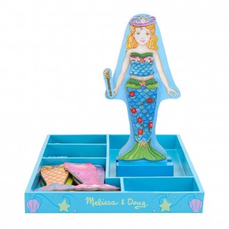 Black Friday 2020 | Melissa & Doug Merry Mermaid Wooden Dress-Up Doll and Stand - 35 Magnetic Accessories