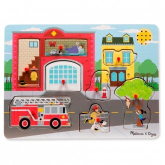 Black Friday 2020 | Melissa & Doug Around the Fire Station Sound Puzzle - Wooden Peg Puzzle (8pc)