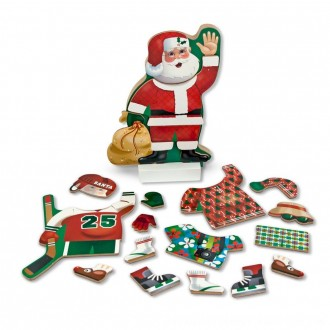 Black Friday 2020 | Melissa & Doug Santa Wooden Dress-Up Doll and Stand With Magnetic Accessories (22pc)