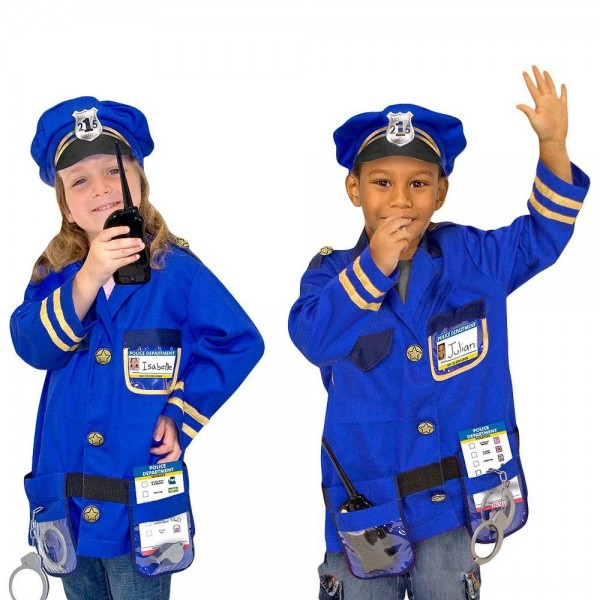 Black Friday 2020 | Melissa & Doug Police Officer Role Play Costume Dress-Up Set (8pc), Adult Unisex, Size: Small, Red/Gold