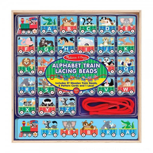 Black Friday 2020   Melissa & Doug Alphabet Train Lacing Beads - 27 Wooden Train Beads, 6 Pattern Cards, and 1 Lace