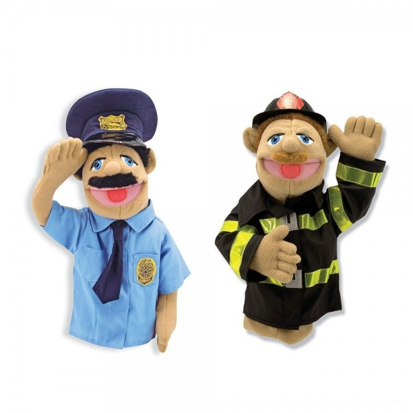 Black Friday 2020 | Melissa & Doug Rescue Puppet Set - Police Officer and Firefighter
