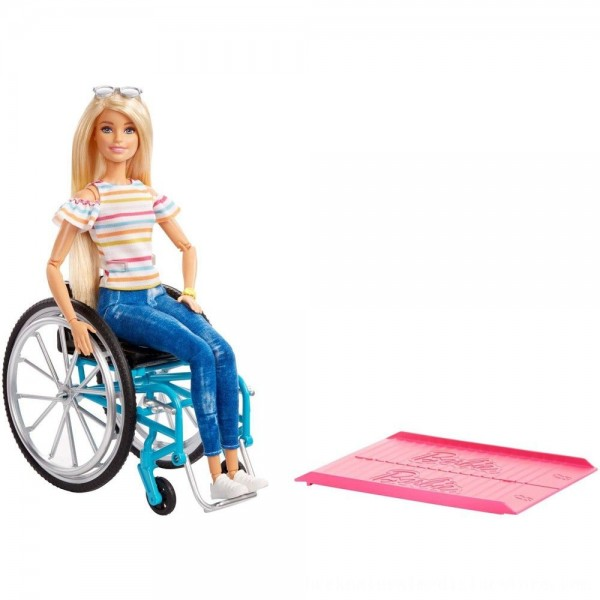 Black Friday 2020 | Barbie Fashionistas Doll #132 Blonde with Rolling Wheelchair and Ramp