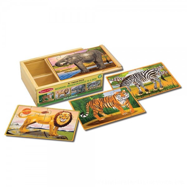 Black Friday 2020 | Melissa & Doug Wild Animals 4-in-1 Wooden Jigsaw Puzzles in a Storage Box (48pc)