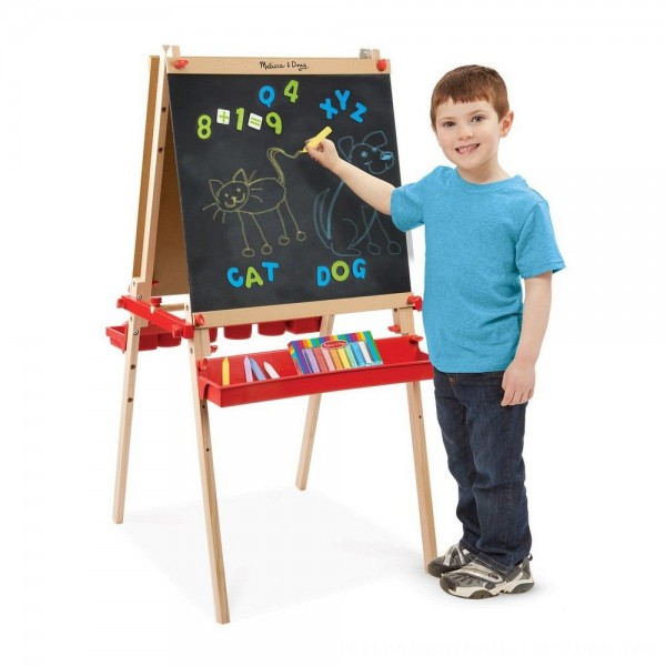 Black Friday 2020 | Melissa & Doug Deluxe Magnetic Standing Art Easel With Chalkboard, Dry-Erase Board, and 39 Letter and Number Magnets