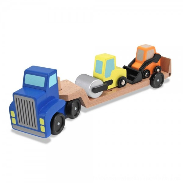 Black Friday 2020 | Melissa & Doug Low Loader Wooden Vehicle Play Set - 1 Truck With 2 Chunky Construction Vehicles