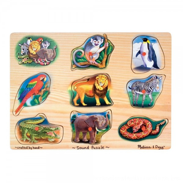 Black Friday 2020 | Melissa & Doug Zoo Sound Puzzle - Wooden Peg Puzzle With Sound Effects 8pc