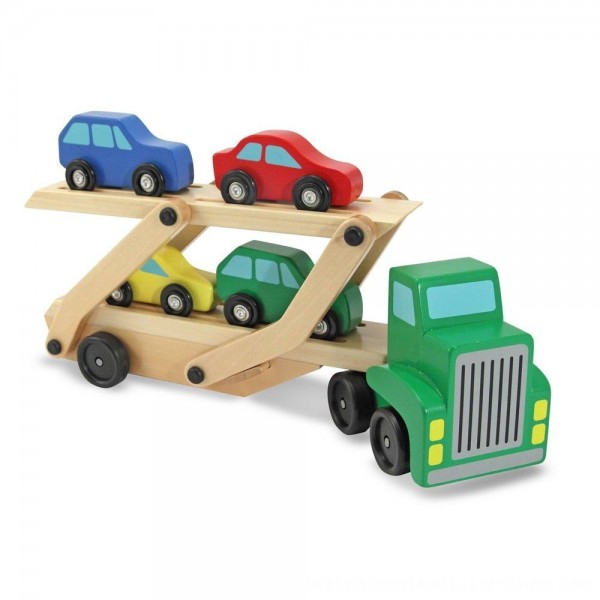 Black Friday 2020 | Melissa & Doug Car Carrier Truck and Cars Wooden Toy Set With 1 Truck and 4 Cars