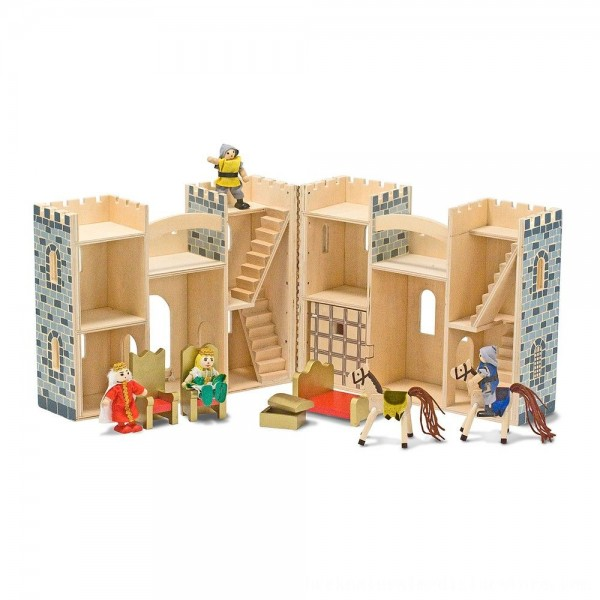 Black Friday 2020 | Melissa & Doug Fold and Go Wooden Castle Dollhouse With Wooden Dolls and Horses (12pc)