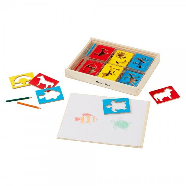 Black Friday 2020 | Melissa & Doug Wooden Stencil Set With 27 Themed Stencils and 4 Pencils