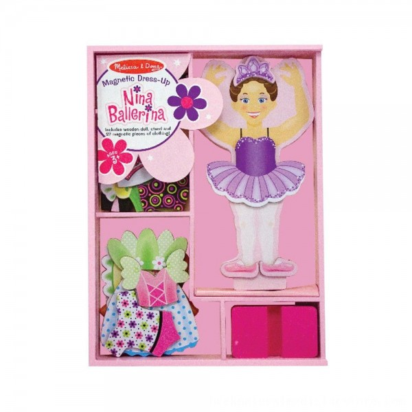 Black Friday 2020 | Melissa & Doug Deluxe Nina Ballerina Magnetic Dress-Up Wooden Doll With 27pc of Clothing