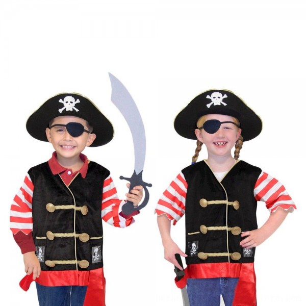 Black Friday 2020 | Melissa & Doug Pirate Role Play Costume Dress-Up Set With Hat, Sword, and Eye Patch, Adult Unisex, Black