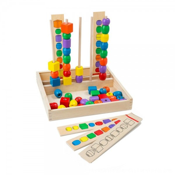 Black Friday 2020 | Melissa & Doug Bead Sequencing Set With 46 Wooden Beads and 5 Double-Sided Pattern Boards