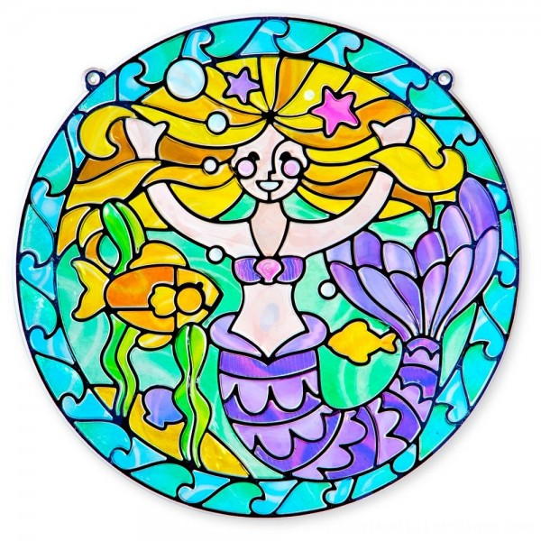Black Friday 2020 | Melissa & Doug Stained Glass Made Easy Activity Kit: Mermaids - 140+ Stickers