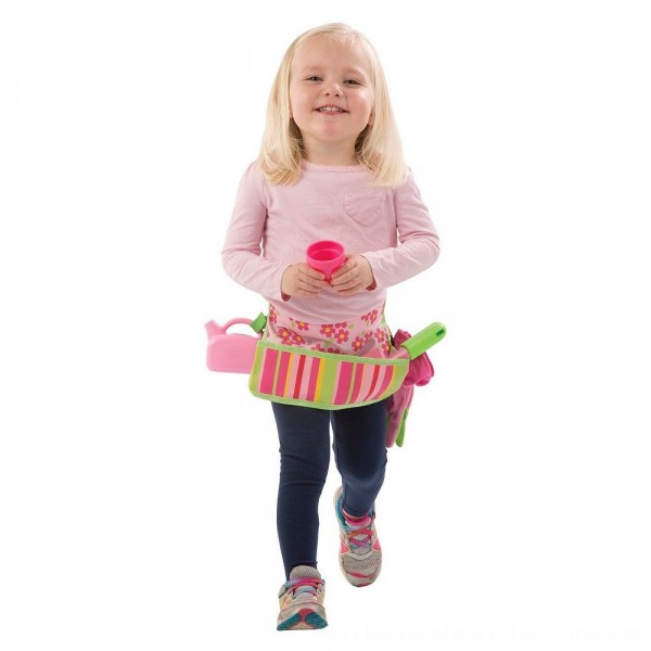 Black Friday 2020 | Melissa & Doug Sunny Patch Blossom Bright Garden Tool Belt Set With Gloves, Trowel, Watering Can, and Pot