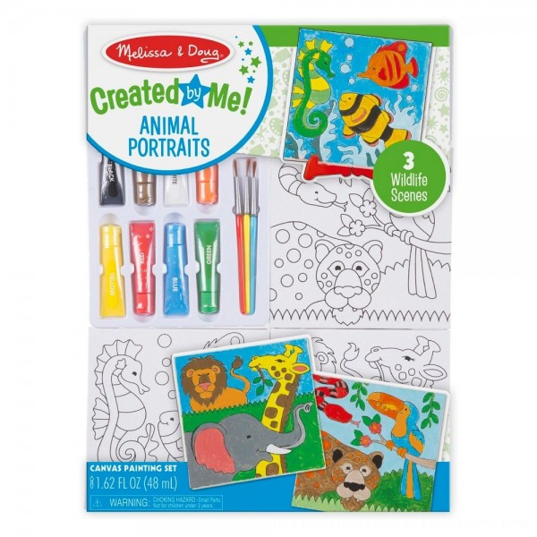 Black Friday 2020 | Melissa & Doug Canvas Painting Set: Animals - 3 Canvases, 8 Tubes of Paint