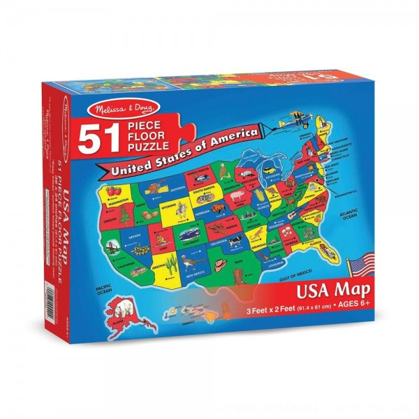 Black Friday 2020   Melissa And Doug Usa Map Floor Puzzle 51pc