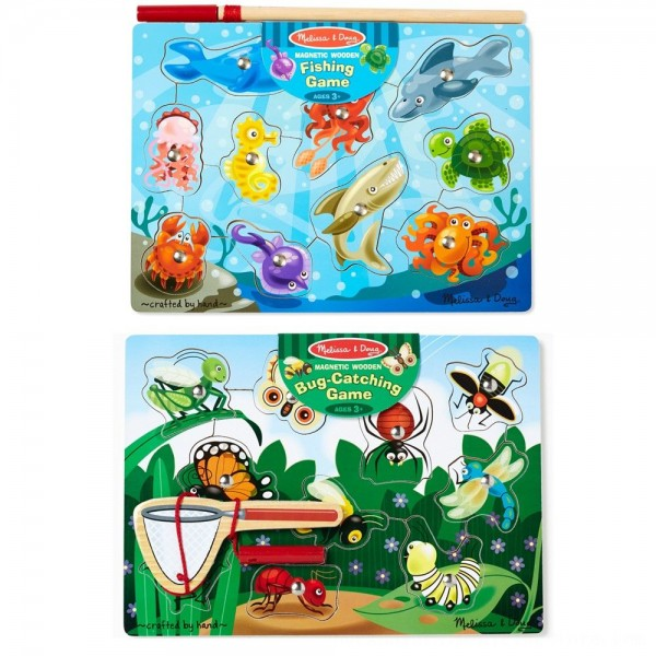 Black Friday 2020   Melissa & Doug Magnetic Wooden Puzzle Game Set: Fishing and Bug Catching
