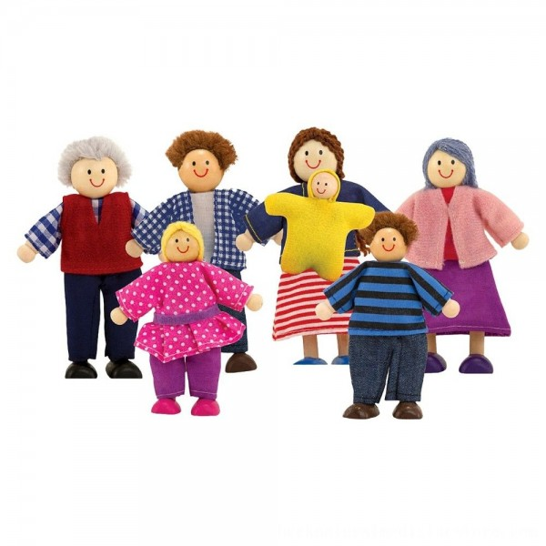 Black Friday 2020 | Melissa & Doug 7-Piece Poseable Wooden Doll Family for Dollhouse (2-4 inches each)