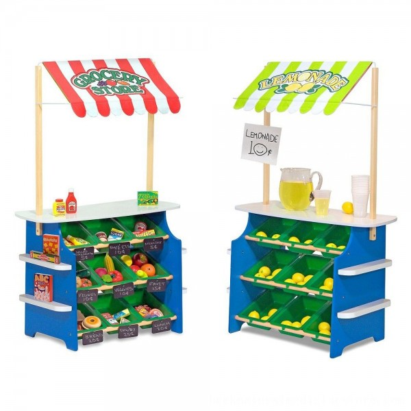 Black Friday 2020   Melissa & Doug Wooden Grocery Store and Lemonade Stand - Reversible Awning, 9 Bins, Chalkboards