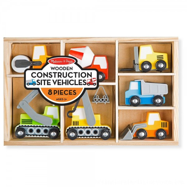 Black Friday 2020 | Melissa & Doug Wooden Construction Site Vehicles With Wooden Storage Tray (8pc)