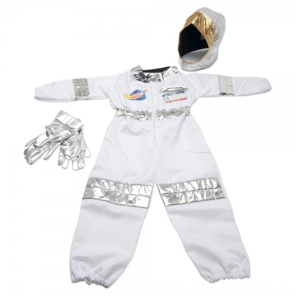 Black Friday 2020 | Melissa & Doug Astronaut Role Play Costume Set (5pc) - Jumpsuit, Helmet, Gloves, Name Tag, Adult Unisex, Size: Small, Red/Gold/Silver
