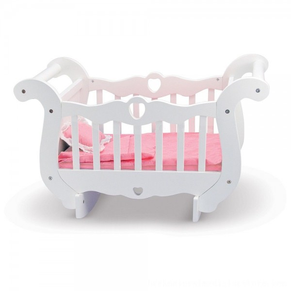 Black Friday 2020   Melissa & Doug White Wooden Doll Crib With Bedding (30 x 18 x 16 inches)